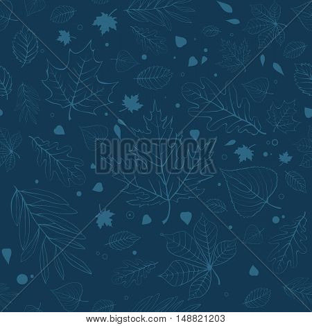 Outline autumn leaves. Blue seamless pattern with outline leaves silhouettes.