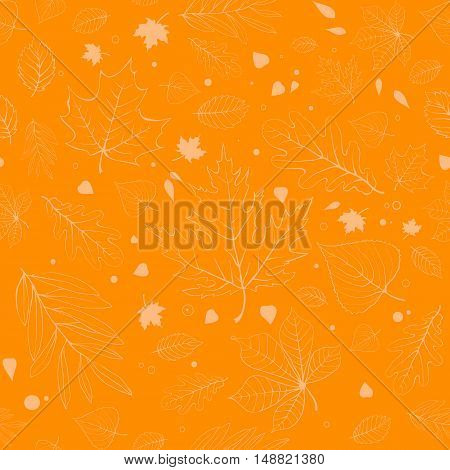 Outline autumn leaves. Yellow seamless pattern with outline leaves silhouettes.