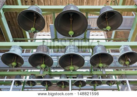bells of carillon in tower of Dutch city Emmeloord