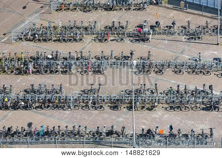 Aerial view bicycle storage in village Emmeloord the Netherlands