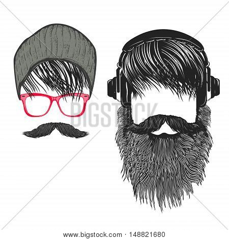 Set of Hipster hairstyle. Men with beard and headphones. Design elements for poster t-shirt print. Vector illustration.