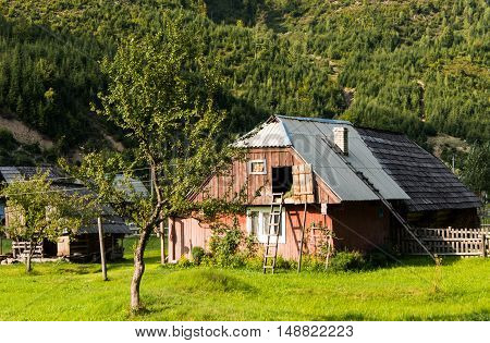 house on the meadows in the Carpathians