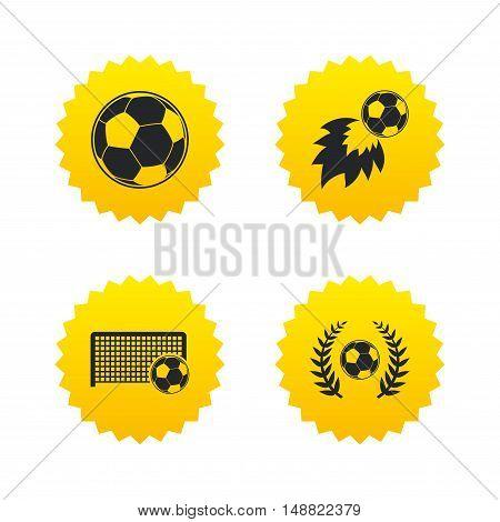 Football icons. Soccer ball sport sign. Goalkeeper gate symbol. Winner award laurel wreath. Goalscorer fireball. Yellow stars labels with flat icons. Vector