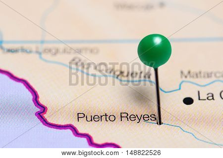 Puerto Reyes pinned on a map of Colombia