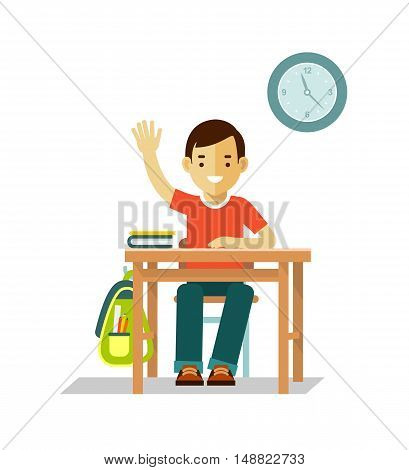 Student boy sit at desk in classroom isolated on white background