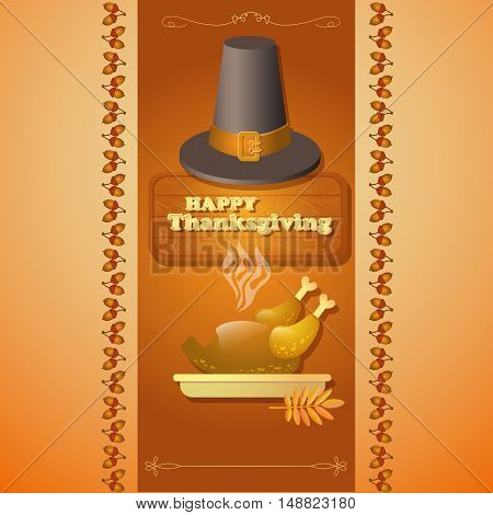 Vector illustration with the text Happy Thanksgiving, roast turkey on brown background.