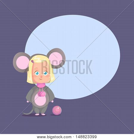 Cute little girl disguised as mouse Flat Isolated Vector Image In Cartoon Style. Halloween Costume mouse