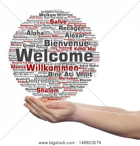 Concept or conceptual abstract welcome or greeting international word cloud in hand, different languages or multilingual isolated