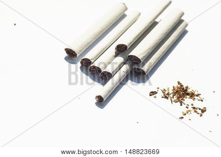 Cigarette isolated on a white background. Top view with copy space