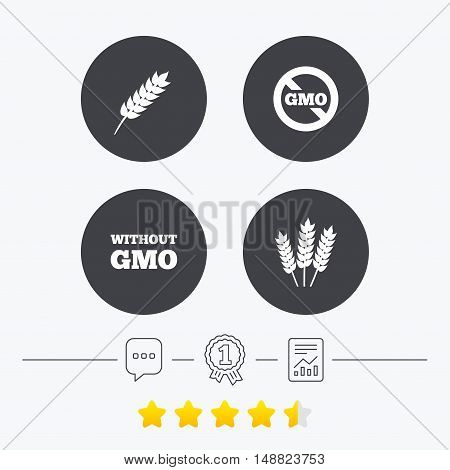 Agricultural icons. Gluten free or No gluten signs. Without Genetically modified food symbols. Chat, award medal and report linear icons. Star vote ranking. Vector