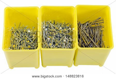the box with nails over white background