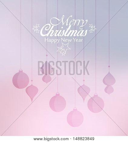 backgroundColorful decorative Christmas balls, vector Christmas background