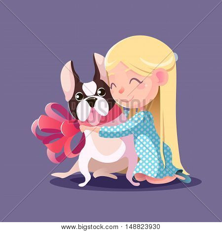 Little Girl hugging a French bulldog. Fulfilling the desires. A new friend.