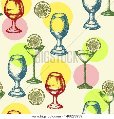 Alcoholic cocktails seamless pattern hand drawn ink vintage vector