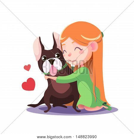 Happy Little Girl hugging a French bulldog isolate on white background. Fulfilling the desires. A new friend.