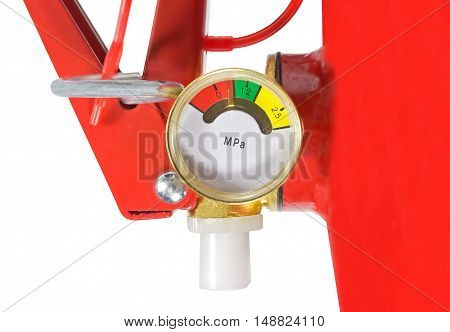 Top of red fire extinguisher on white background