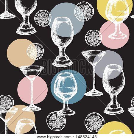 Alcohol drinks seamless pattern vector set drinks