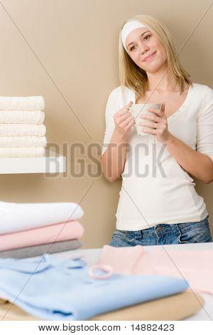 Laundry Ironing - Woman Coffee Break