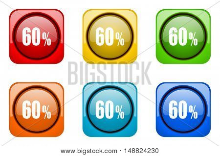 60 percent colorful web icons