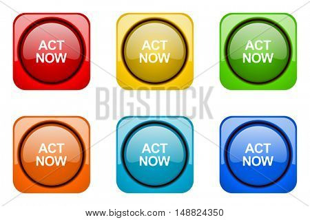 act now colorful web icons