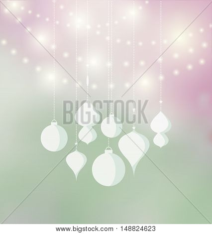 Vector Christmas balls on a colored background, Merry Christmas card