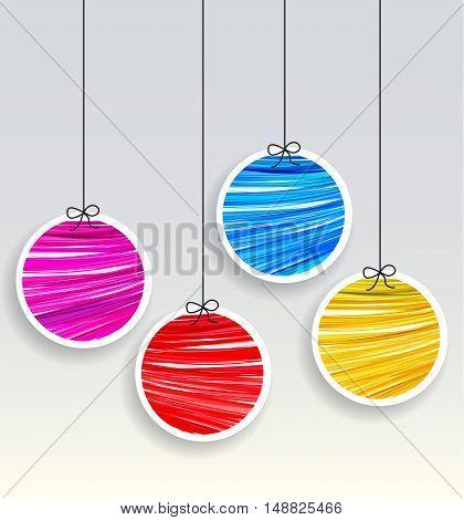 Vector Christmas balls on a gray background, Merry Christmas card