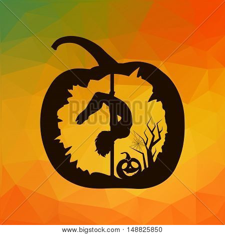 Black vector silhouette of female pole dancer carved in Halloween pumpkin on autumn abstract colorful geometric triangles background.