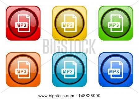mp3 file colorful web icons