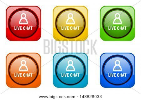 live chat colorful web icons