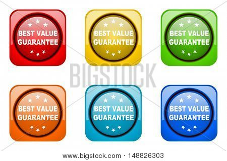 best value guarantee colorful web icons