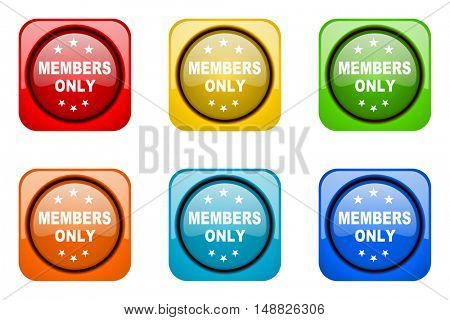 members only colorful web icons