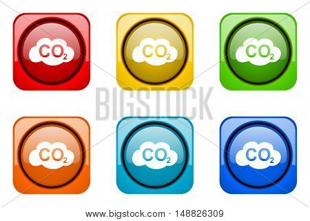 carbon dioxide colorful web icons