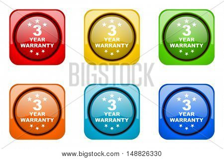 warranty guarantee 3 year colorful web icons