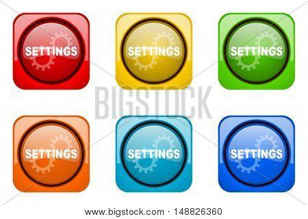 settings colorful web icons