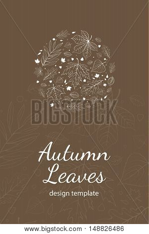 Autumn leaves postcard design template white outline on brown