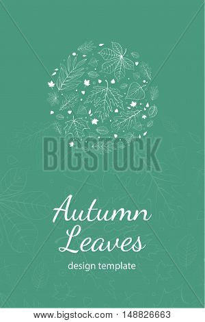 Autumn leaves postcard design template white outline on turquoise