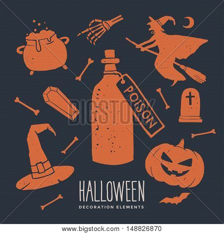 Decorative elements on the theme of Halloween. Set of silhouettes for Halloween holidays.