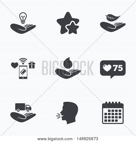 Helping hands icons. Intellectual property insurance symbol. Delivery truck sign. Save nature leaf and water drop. Flat talking head, calendar icons. Stars, like counter icons. Vector