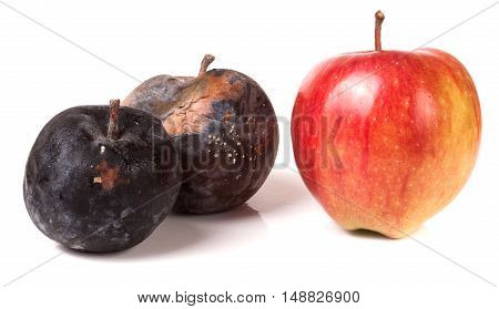 two rotten and one good apple isolated on white background.