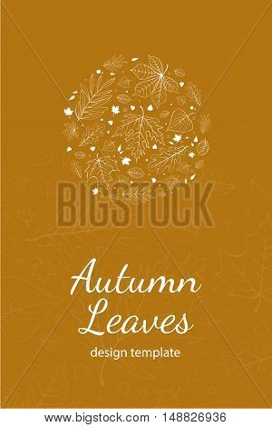 Autumn leaves postcard design template white outline on yellow