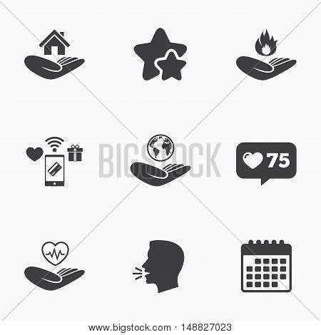 Helping hands icons. Health and travel trip insurance symbols. Home house or real estate sign. Fire protection. Flat talking head, calendar icons. Stars, like counter icons. Vector