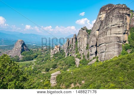 Rock formations of the Meteora with Monastery of St. Nicholas Anapausas. Meteora Plain of Thessaly Greece Europe
