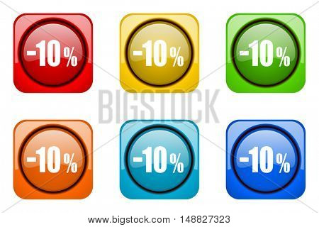 10 percent sale retail colorful web icons