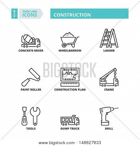Flat symbols about construction. Thin line icons set.