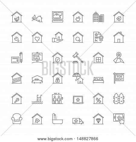 Thin line icons set. Flat symbols about real estate