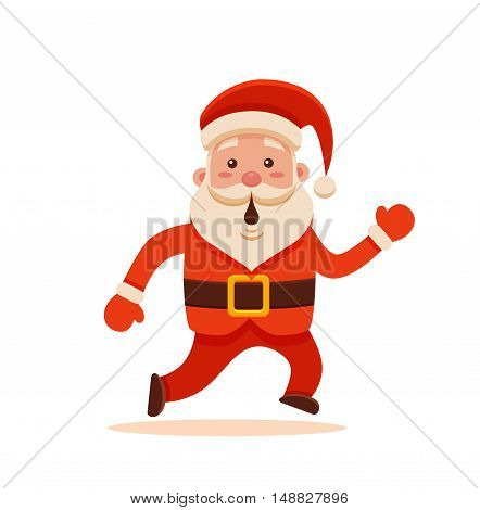 Cartoon Santa Claus for Your Christmas and New Year greeting Design or Animation. Vector isolated illustration of surprised Santa Claus running in colorful flat style