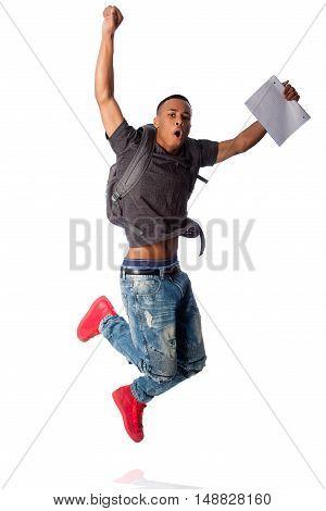 Student Jumping Because Good Grades