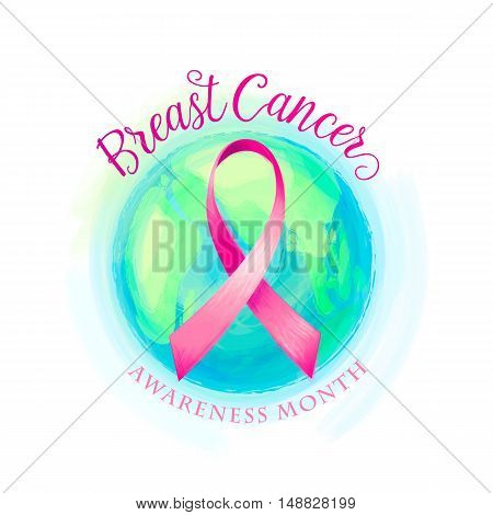 Vector illustration of breast cancer ribbon and world awareness women background. Breast cancer campaign card with ribbon, earth sphere, text lettering sign Breast Cancer Awareness Month
