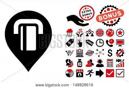 ATM Map Marker icon with bonus pictograph collection. Vector illustration style is flat iconic bicolor symbols, intensive red and black colors, white background.