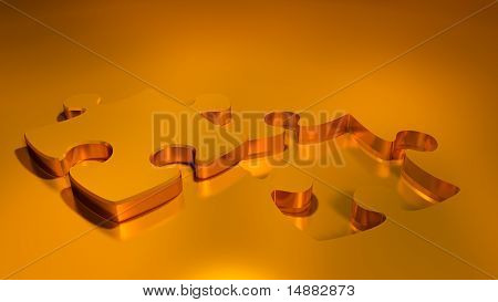 Gold Puzzle  And Missing Piece